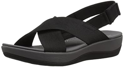 55aa6108e1c CLARKS Women s Arla Kaydin Sandal Black Elastic Fabric 5 Medium US