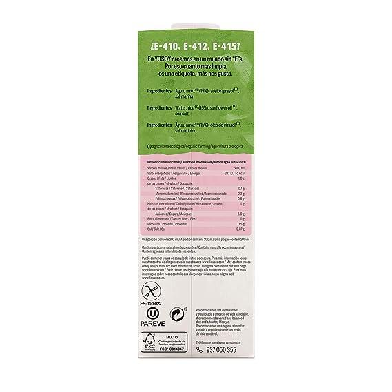 Yosoy, Bebida Ecológica de Arroz, Pack de 6 x 1L
