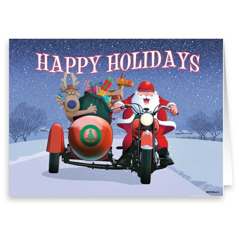 Amazon Santa Rides A Motorcycle Christmas Card 18 Cards
