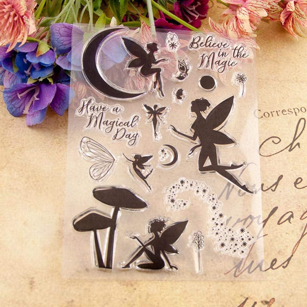 f/ür Geburtstag Weihnachten Hochzeit DIY Kunst Basteln Dekoration Fairy Angel Silikon-Stempel Karten Prosperveil Stempel f/ür Scrapbooking Basteln