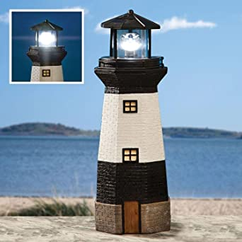 Traditional Solar Powered Garden Lighthouse with Rotating LED