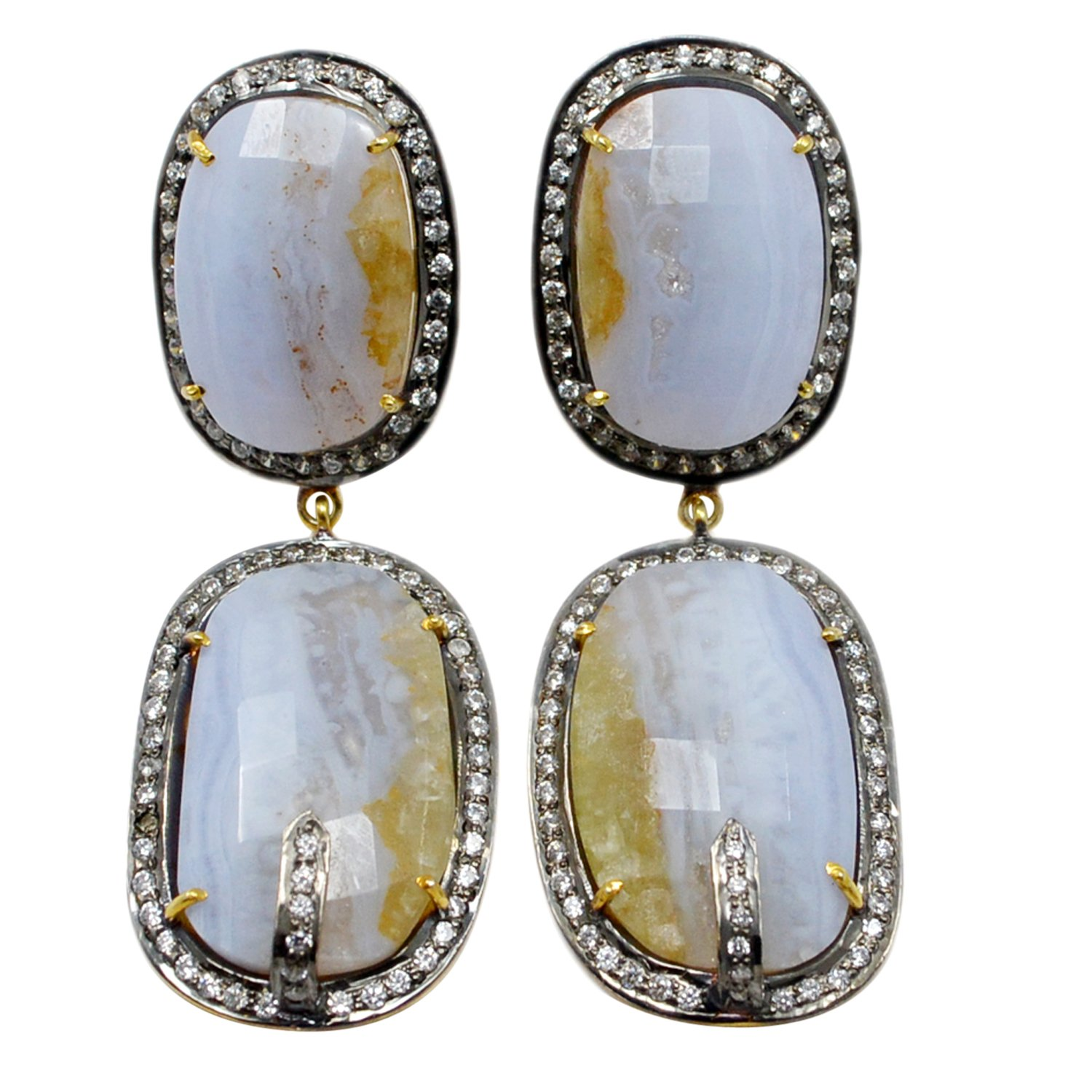 Blue Lace Agate /& Cubic Zircon Handmade Jewelry Manufacturer Blue Earring Simple Minimal Earring Jaipur Rajasthan India Vermeil 925 Sterling Silver