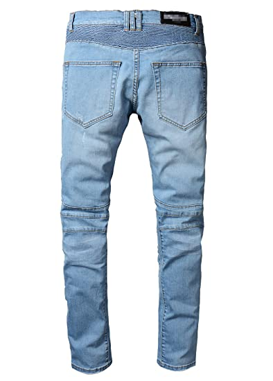 77a86bc1233d3 Men s Straight Fit Ripped Slim Zipper Biker Jeans Stretch Blue Wash Pants at  Amazon Men s Clothing store