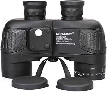 USCAMEL 10x50 Marine Binoculars for Adults, Waterproof Binoculars with Rangefinder Compass BAK4 Prism FMC Lens Fogproof for Navigation Birdwatching Hunting