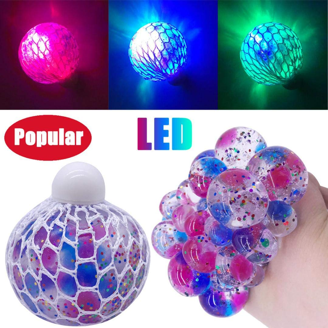 Grape Ball LED Glowing Extrusion Squeeze Spielzeug, mamum Mesh Ball Stress LED Glowing Squeeze Grape Toys Anxiety Relief Stress Ball Spielzeug