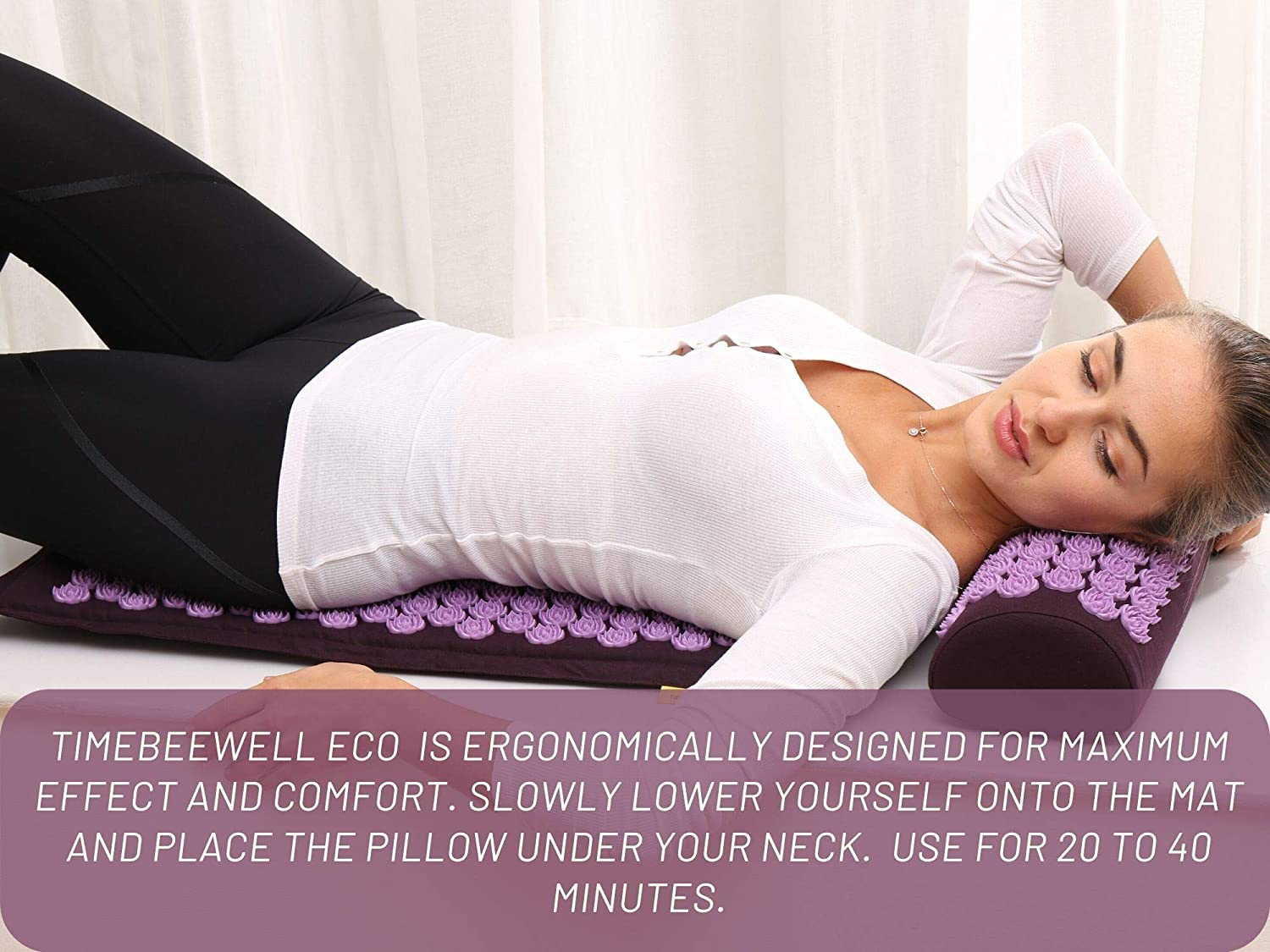 Eco-Friendly Acupressure Mat and Pillow Set - Back & Neck Pain Relief (Purple)