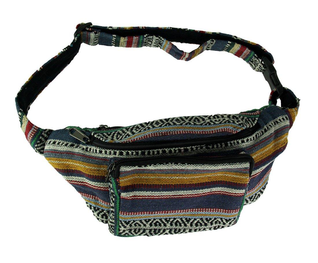 Boho Festival Tribal Stripe Cotton Fanny Pack Cotton Mens Waist Packs Grey