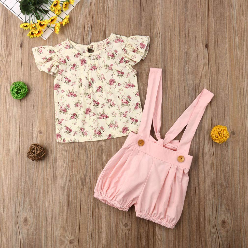 2Pcs Kids Baby Girls Outfit Fly Sleeve Floral T Shirt Suspender Shorts Pants Set
