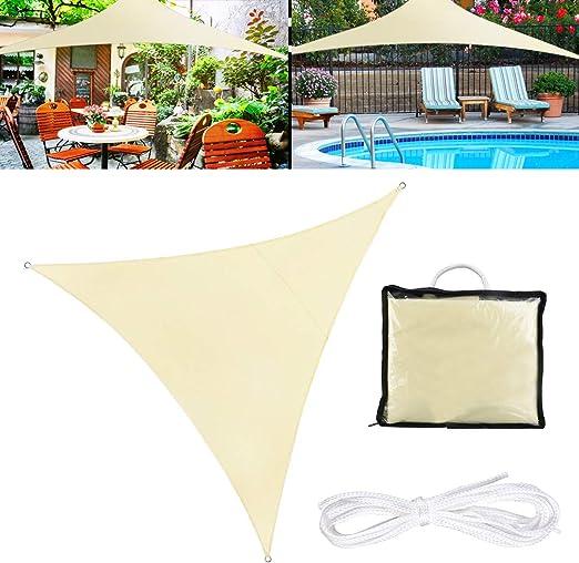 TedGem Vela de Sombra, Vela de Sombra Triángulo 3 x 3 x 3 Metros, protección Rayos UV, Toldo Resistente e Lmpermeable, para Patio, Exteriores, Jardín (3X3X3M): Amazon.es: Jardín