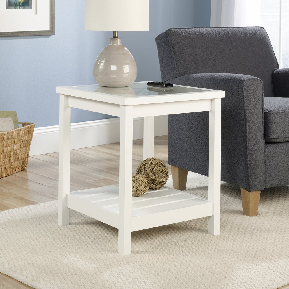 Sauder Cottage Road Side Table, Soft White Finish 416136