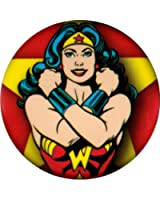 Wonder Woman Arms Crossed on Yellow Star & Red Background Button / Pin
