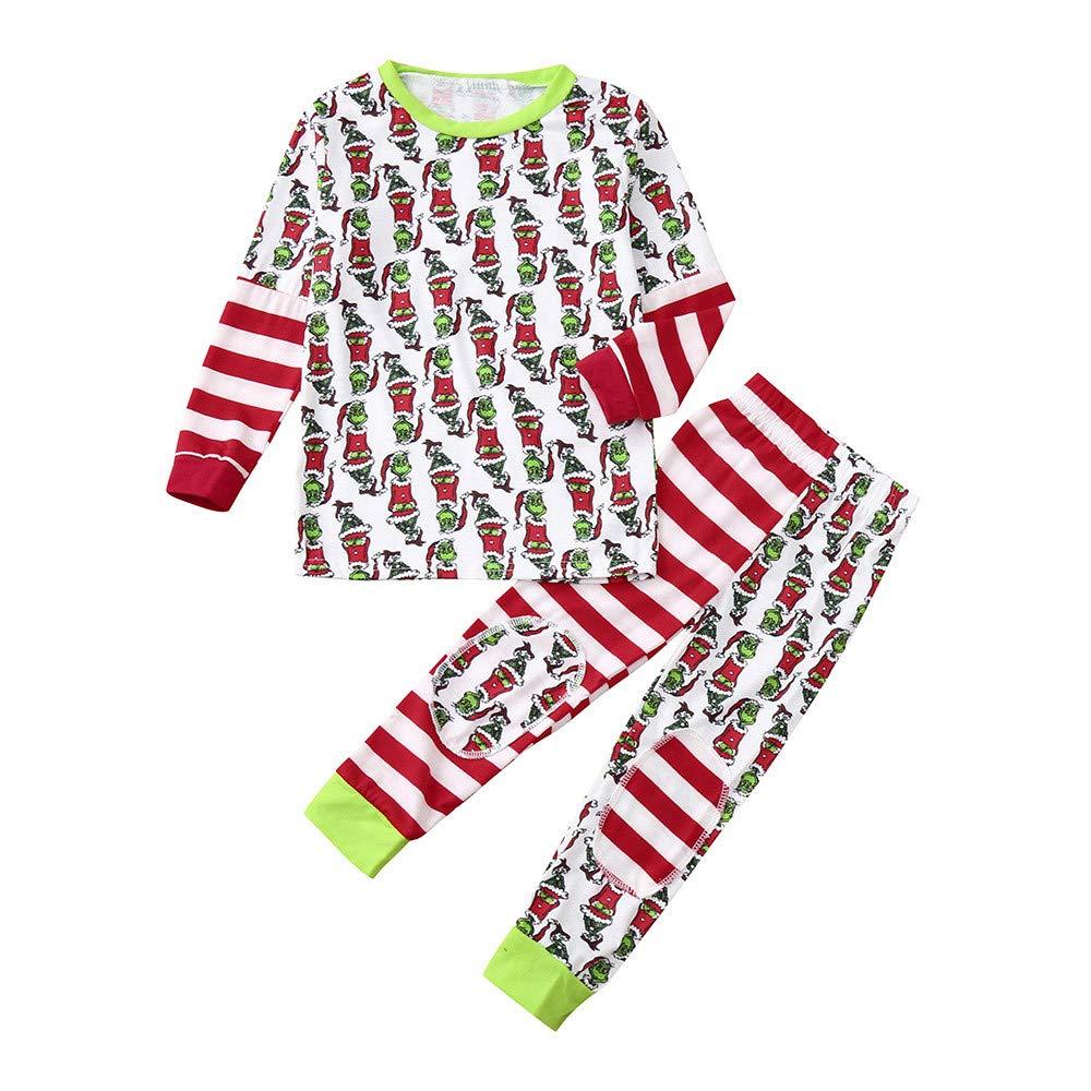 Weihnachten Schlafanzug Familien Outfit Mutter Vater Kind Baby Pajama Langarm Nachtwä sche Sleepwear Casual Xmas Rundkrage T-Shirt Oberteile Top Gestreift Hose Set von Innerternet