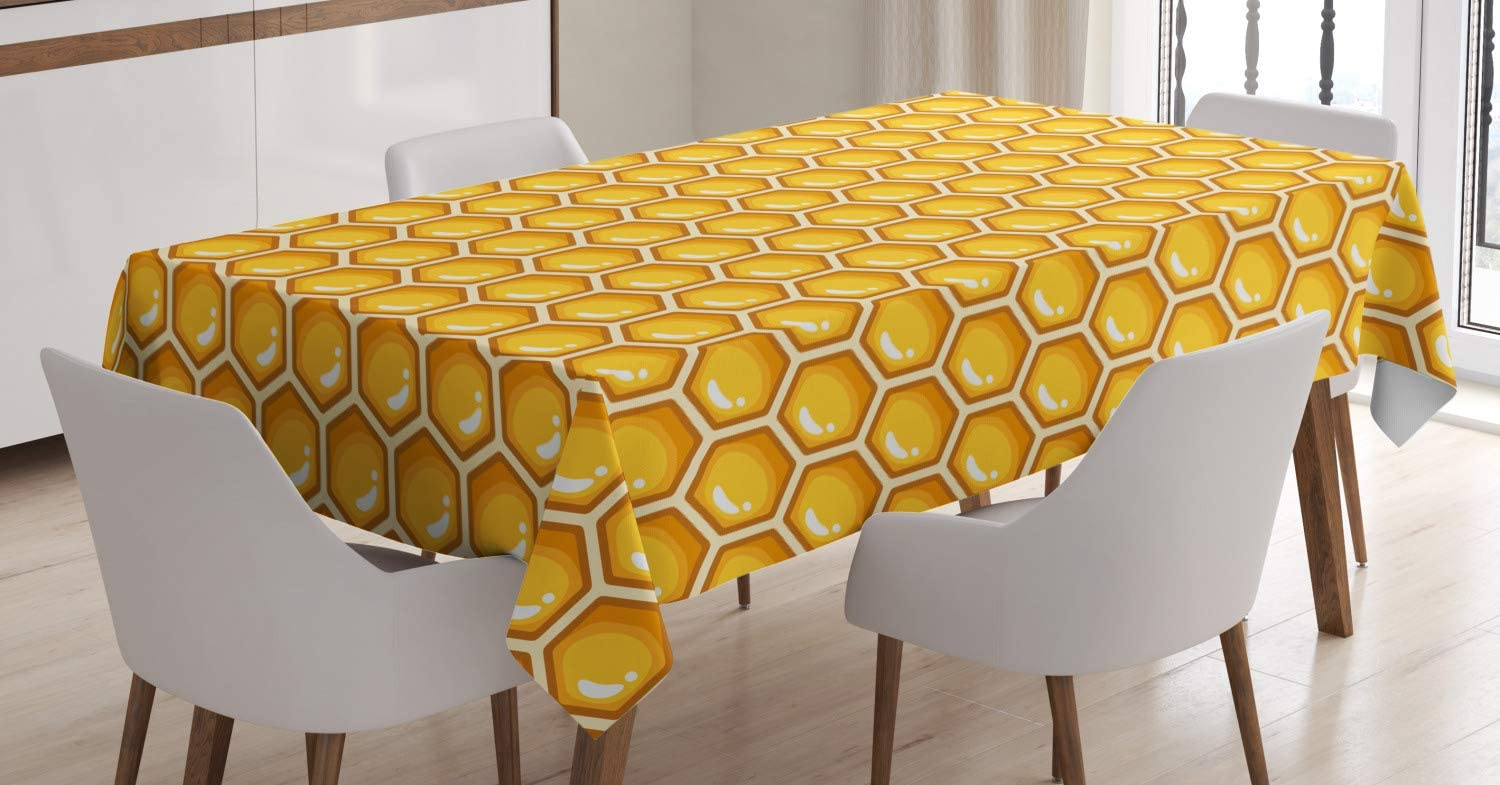 Lunarable Honey Tablecloth, Symmetric Geometric Bee Hive Themed Hexagons Continuous Honeycomb, Rectangular Table Cover for Dining Room Kitchen Decor, 52