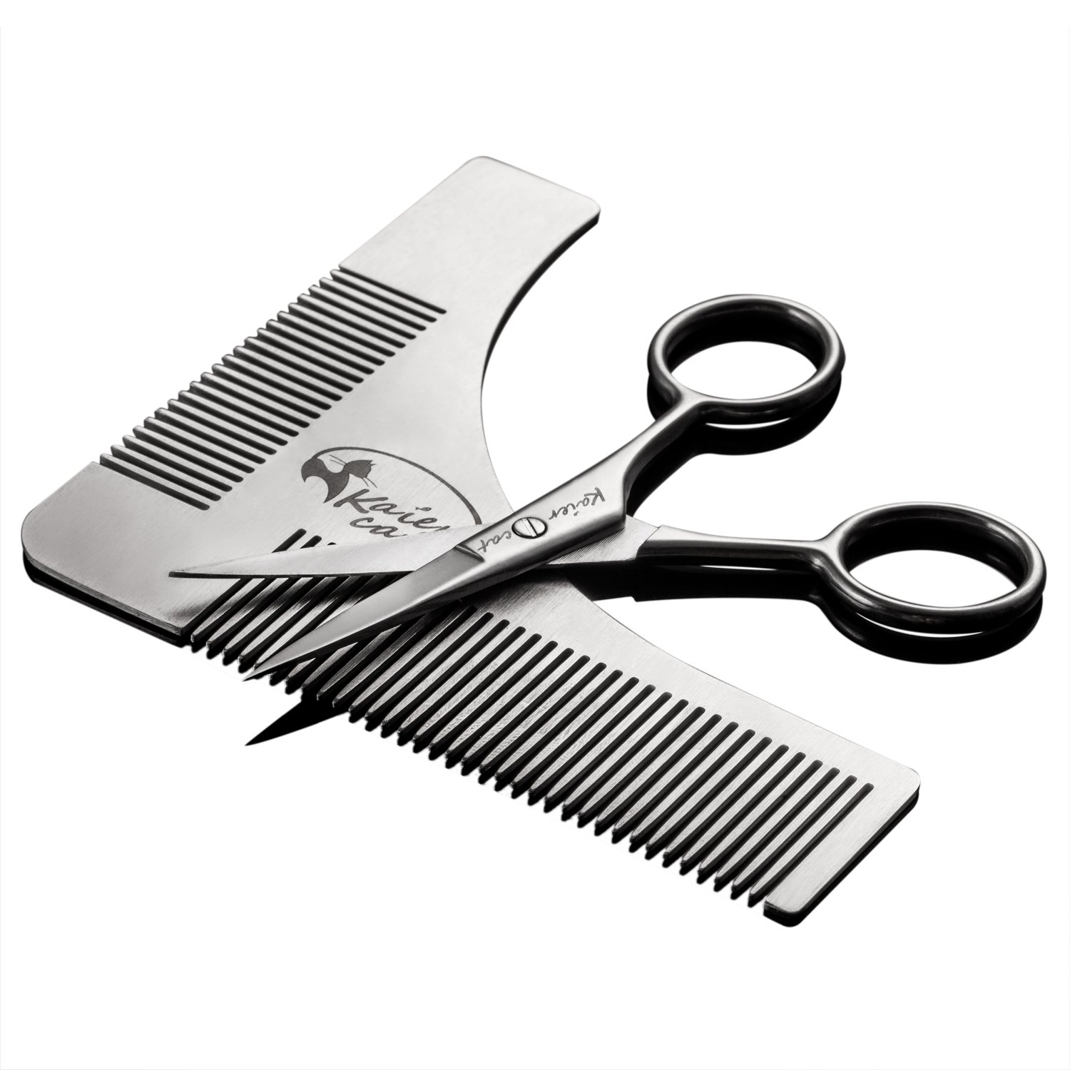 Kaiercat Stainless Steel Beard Shaping Tool and Scissors Kit for Beard Trimming and Grooming beard brushes for men