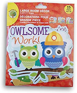 Teaching Tree Motivational Paper Cut-Outs Room Decor - Owls (15 Pieces)