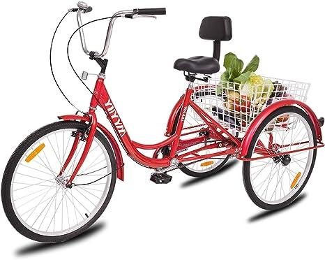 YiiYYaa Bicicleta de Triciclo para Adultos, Rueda de 24 Pulgadas ...