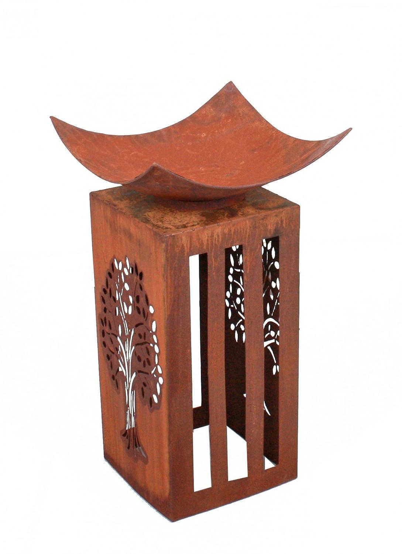 Unbekannt Feuer-Schale Säule Rost-Optik Feuerturm Dekoration 76. cm Vintage