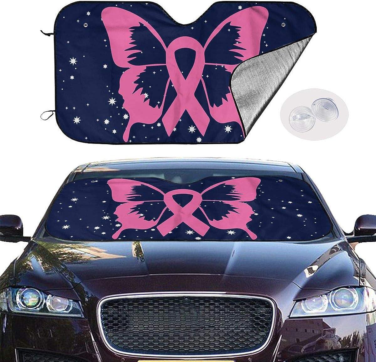 BAG9S-G1 Breast Cancer Awareness Ribbon Survivor Car Windshield Sunshade Foldable Sunshade for Car SUV Trucks Minivans Sunshades Cools Vehicle Interior