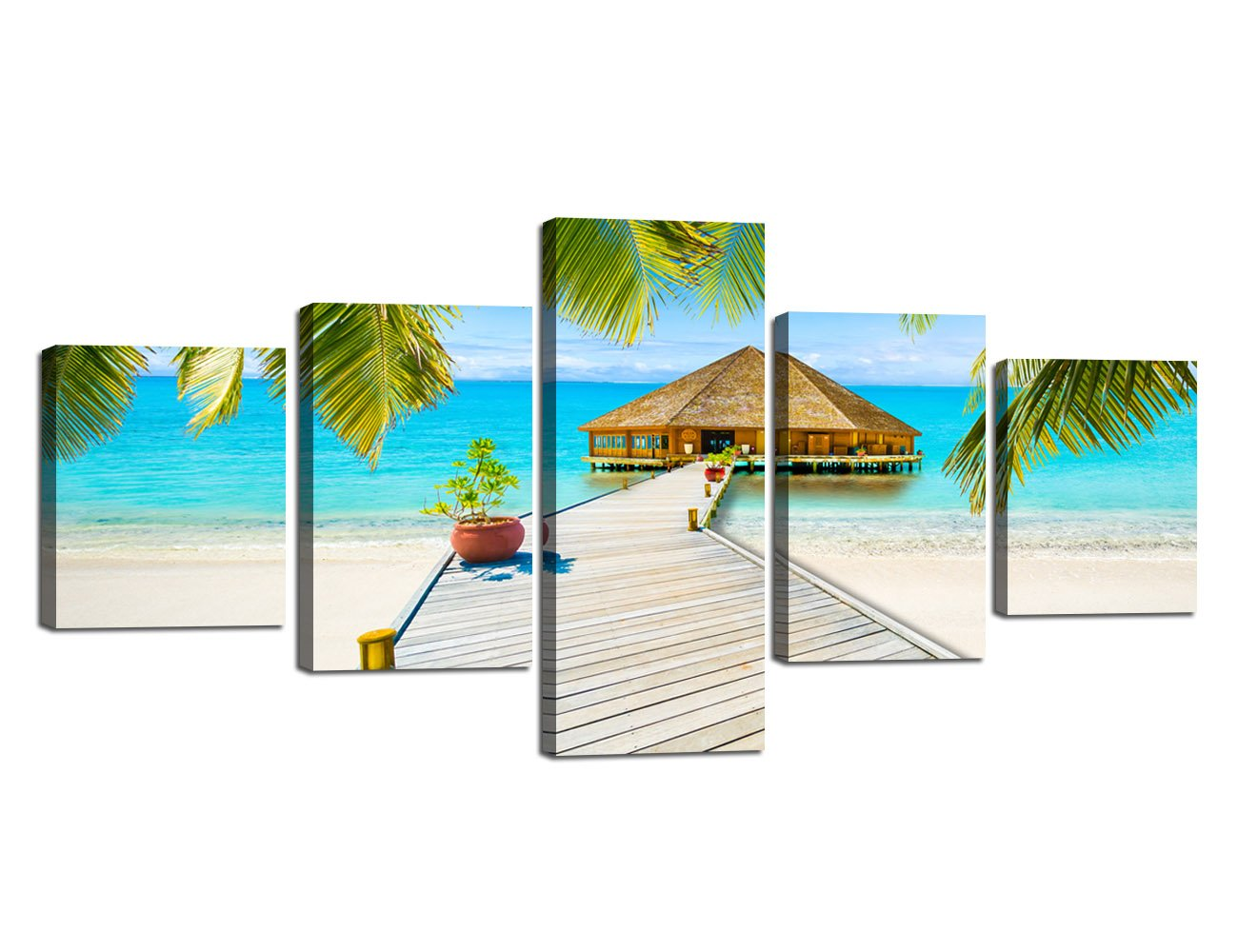 Ocean_37 Small Size Scene of Sea Waves Palm Tree Landscape Picture Modern Painting on Canvas 5 Piece Framed Wall Art for Living Room Bedroom Kitchen Home Decor Stretched Gallery Canvas Wrap Giclee Print (60''W x 32''H)