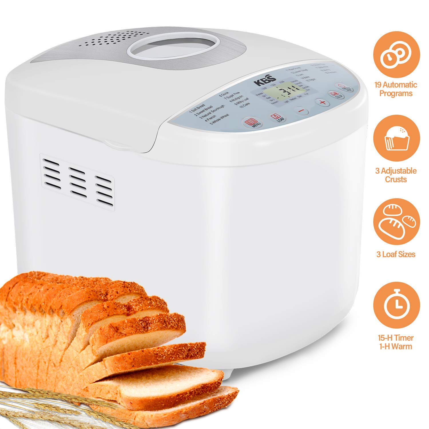 KBS Full Automatic Bread Maker 2LB, Multi-Use 19 Programs Bread Machine, 360° Double Tube Bake with Ceramic Pan, 3 Loaf Sizes 3 Crust Colors Digital Screen, 15hrs Delay Time 1h Keep Warm, ETL Approved by KBS
