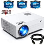 """FunLites Projector,+80% Brightness HD 4400lumens Video Projector with 200"""" Display 60,000 Hrs Led Home Theater Projector, 1080P Supported Compatible with Fire TV Stick,PS4, HDMI, VGA, AV and USB"""
