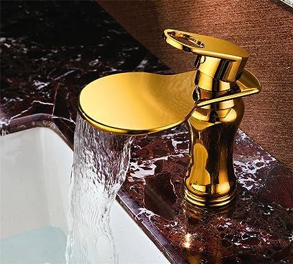 de la Marca Grifos de lavabo SADASD Grifo Monomando para Lavabo de Cobre para baño con un Solo Agujero para Agua fría con Manguera G1/2