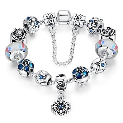 0297e0ef2379 Cadena de Seguridad amor plateado plata de la flor colgantes murano pulsera  del encanto del grano  Amazon.es  Joyería