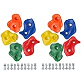 10 x 110mm Plastic Coloured Rock Climbing Climbing Wall Footholds / Hand Stones & Fixings - Climbing Frame / Playhouse Accessory