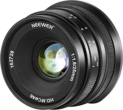 Neewer 25mm f/1,8 Lente Gran Angular de Gran Apertura Enfoque ...
