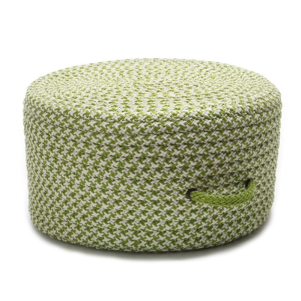Colonial Mills Braided Round pouf/ottoman 20''x20''x11'' in Lime Green Color From Houndstooth Pouf Collection by Colonial Mills (Image #1)