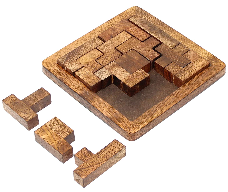 SKAVIJ Wooden Jigsaw Pentominoes Puzzle 13-Pieces Brain Teasers Game (Brown)