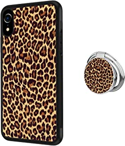 jacbob Universal Custom Leopard Print iPhone Xr Case with Ring Holder Kickstand Rotational Heavy Duty Armor Protective Soft TPU Bumper Shell Cover for iPhone Xr