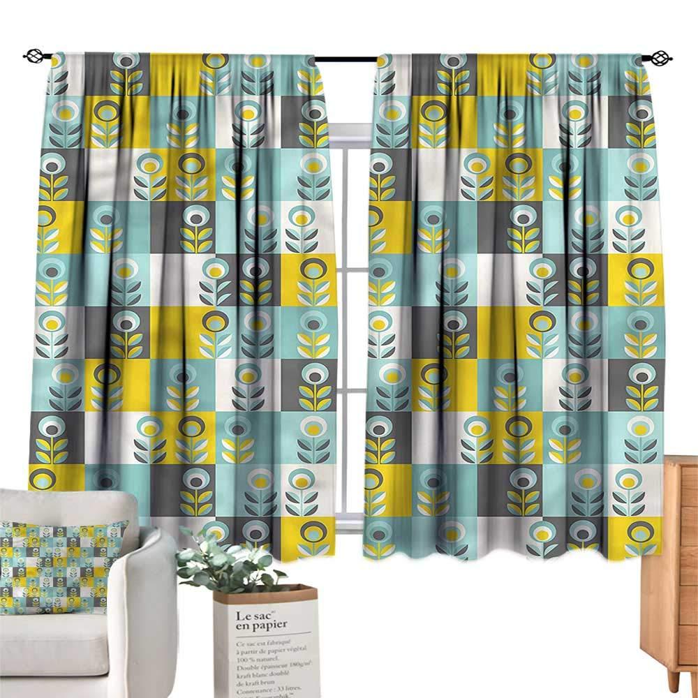 color07 55 Wx72 L WinfreyDecor Seagulls Insulated Sunshade Curtain Cartoon Kids Summertime Noise Reducing 55  Wx63 L