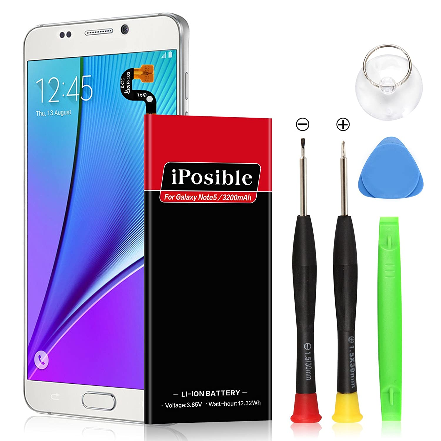 Note 5 Battery Upgraded iPosible 3200mAh Li-Polymer Battery Replacement Samsung Galaxy Note 5 SM-N920 N920V(Verizon) N920A(at&T) N920T(T-Mobile) N920P(Sprint) Removal Tools[24 Month Warranty] note3200mah