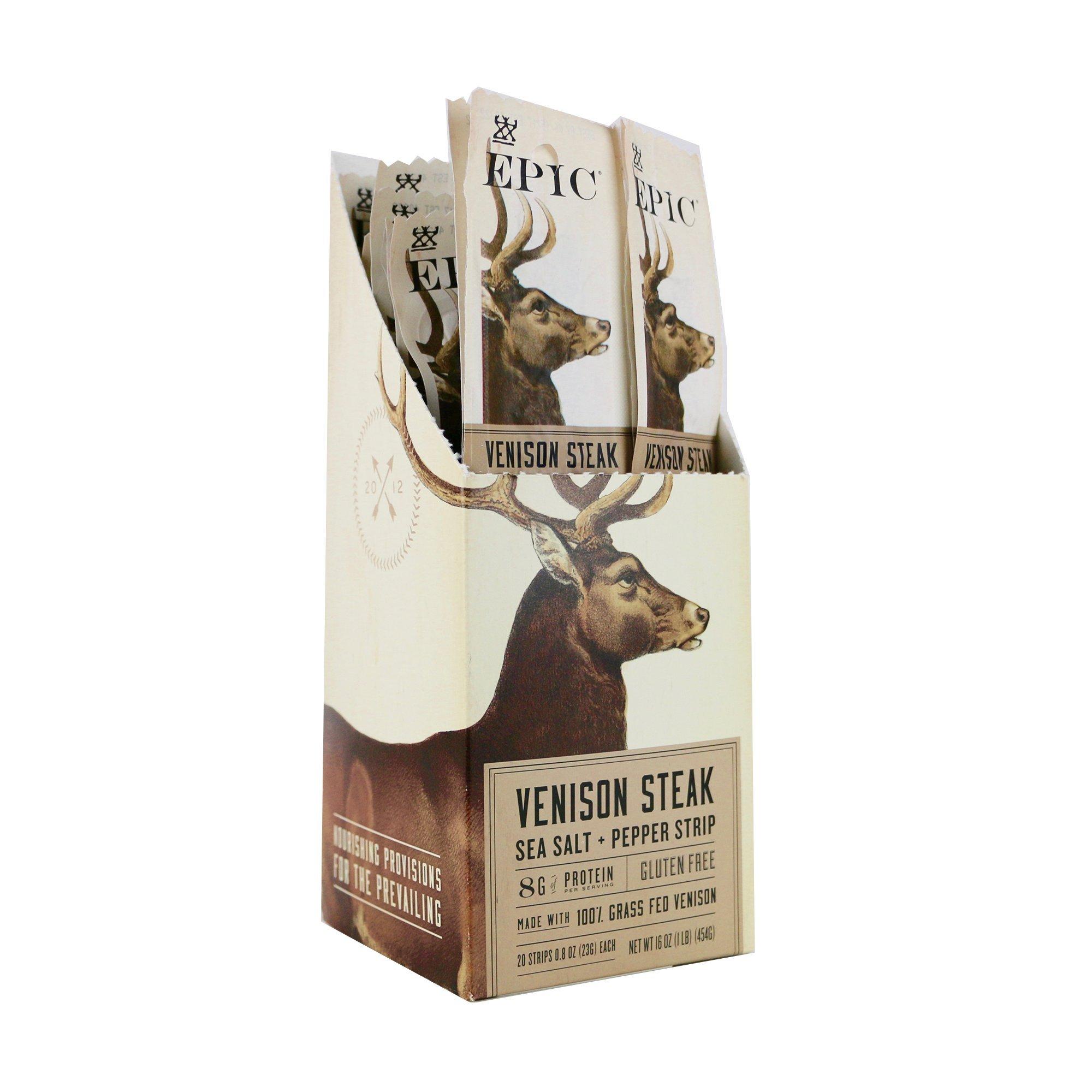 Epic 100% Grass Fed Steak Strip, Venison, Sea Salt & Pepper, 0.8 Ounce (Pack Of 20)