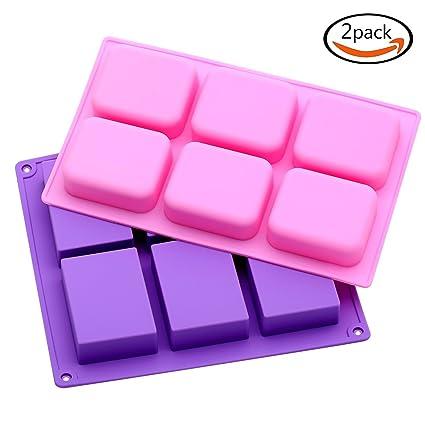 Goodlucky365 (2 Piezas) Básicos Moldes de Silicona 6 Cavidad Pequeños Moldes de Jabón Para
