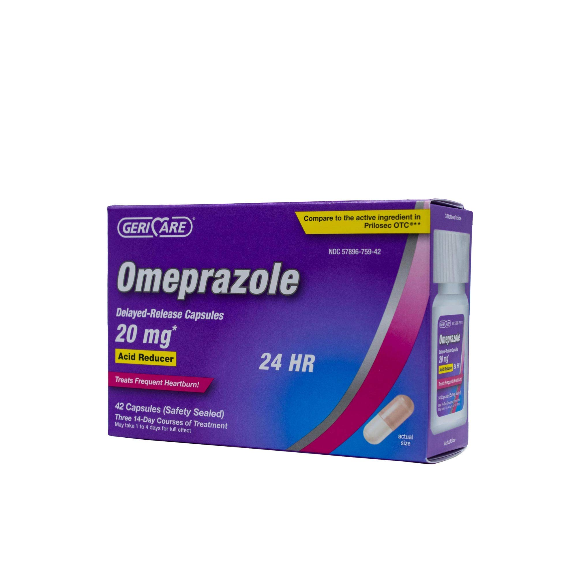 GeriCare Omeprazole Delayed Release Capsules 20 mg, Acid Reducer, Treats Heartburn, 42 Count