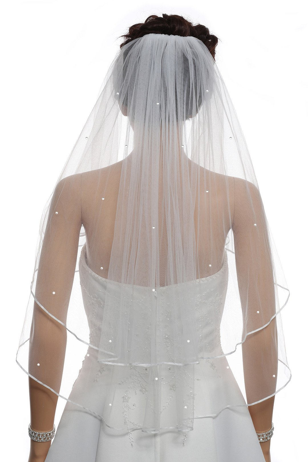 2T 2 Tier 1/8'' Ribbon Crystal Circular Veil - White Elbow Length 30'' V541