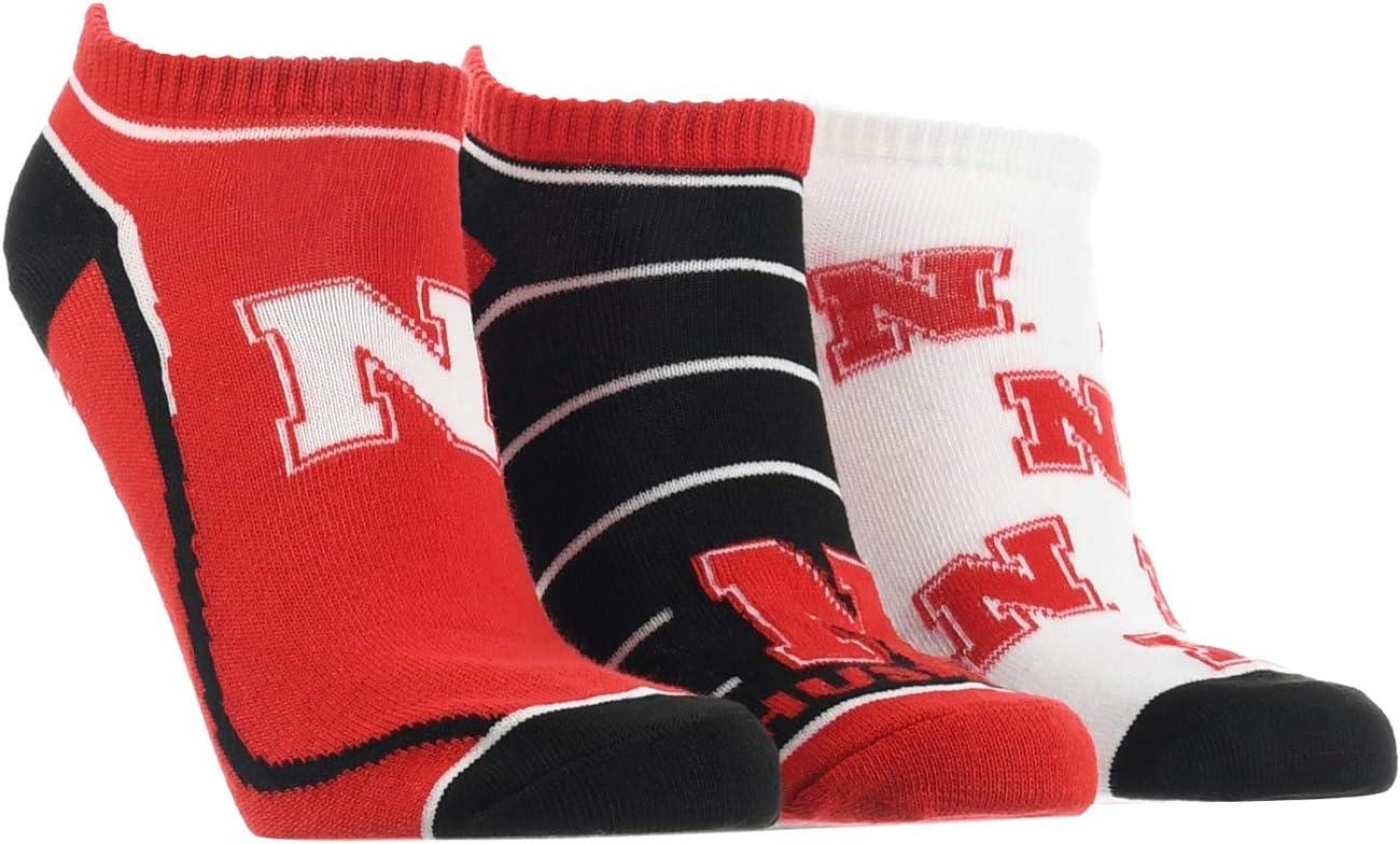 TCK Nebraska Cornhuskers No Show Socks Full Field 3 Pack