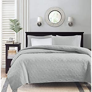 Madison Park Quebec Full/Queen Size Quilt Bedding Set - Grey, Damask – 3 Piece Bedding Quilt Coverlets – Ultra Soft Microfiber Bed Quilts Quilted Coverlet