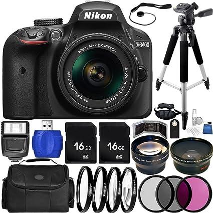 Nikon Cámara Réflex D3400 (Negro) Bundle con AF-P DX 18-55 mm f/3 ...