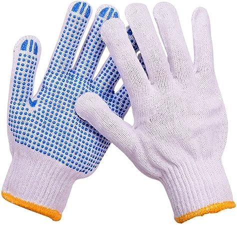 ZLJYE Guantes de Hilo de algodón, Transpirables, Resistentes al Desgaste, Antideslizantes, protección para la manipulación mecánica (Color : Azul): Amazon.es: Hogar