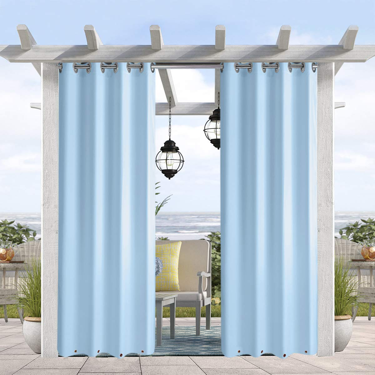 Pro Space Outdoor Drape and Curtain 50x96-Inch for Pergola Thermal Insulated Blackout Curtain Panel with Rust Proof Rings on Top and Bottom, Windproof and Mildew Resistant,Blue