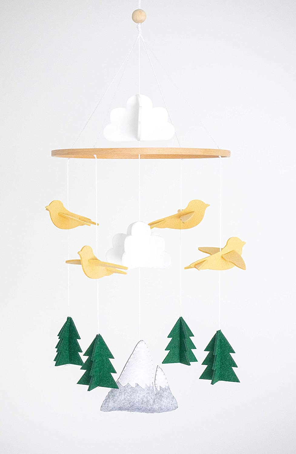 Baby Crib Mobile by Cheeky Owl - Beige Woodland Forest Mountain Mobile for Nursery Decor and Ceiling Decoration, Baby Mobile for Crib boy and Girl Gender Neutral Baby Nursery Decorations Mobile Crib