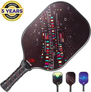 Oppum Pickleball Paddle Graphite Faced Honeycomb Core Balance Lightweight Composite Racket Comfortable Grip Design Racquet 8oz Composite Paddle