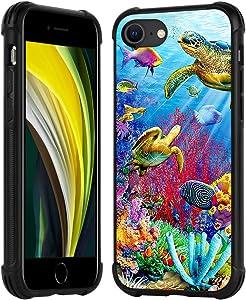 ZIYE iPhone SE 2020 Case iPhone 7 Case,iPhone 8 Case,Sea Turtle Shockproof Anti-Slip Cute Animal Clear Design Pattern Slim Thin Nonslip Soft TPU Bumper Shell Cover