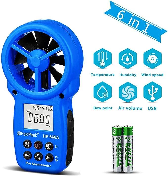 Digitales Flügelrad Anemometer HP-866A USB Windmessgerät Windmesser Thermometer