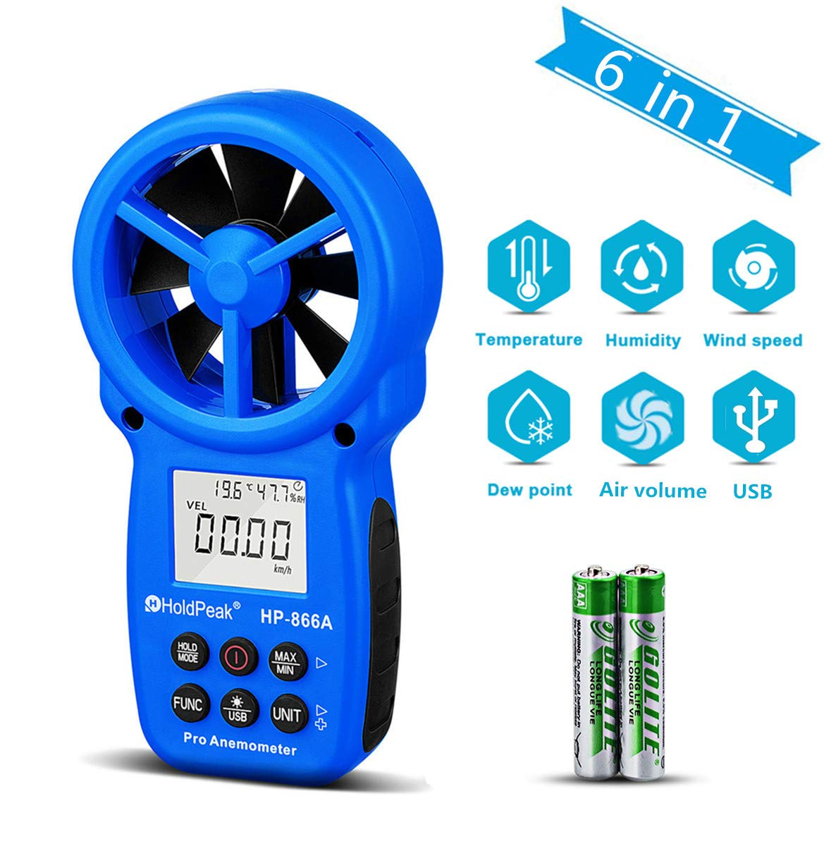 Anemómetro Digital, Temperatura y Flujo del Viento HOLDPEAK 866A