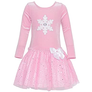 c08450a8b4f7 Bonnie Jean Girls Pink Velour Sparkling Christmas Snowflake Tutu Xmas Dress  2-6 Years: Amazon.co.uk: Clothing