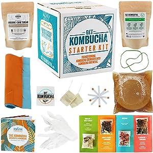 Get Kombucha Kombucha Starter Kit, Brewing Bundle for 5 gallons of Organic Tea, Vegan, GMO, and Gluten-Free Kombucha